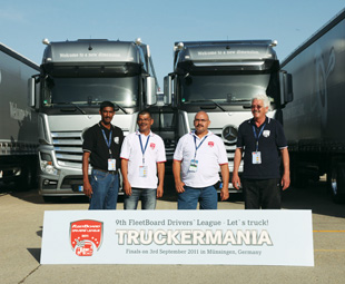 From left: Naveen Sook, FleetBoard South Africa aftersales manager; Fast 'n Fresh drivers Pieter Adriaanse and Basil Bailey; and driver trainer Dennis Jolliffe.