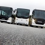 Grouped together for this photograph, the family resemblence between Scania's Citywide, OmniExpress and Touring models is clearly evident
