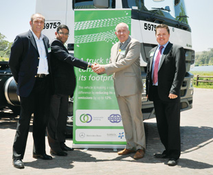 From left: Frank Wagner, CEO Unitrans Supply Chain Solutions; Ray Singh, managing director of customer solutions development for Unitrans Supply Chain Solutions; Kobus van Zyl, vice-president of commercial vehicles, Mercedes-Benz South Africa; Clinton Savage, divisional manager Mercedes-Benz Trucks, Mercedes-Benz South Africa.