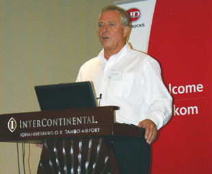 "Johan Richards (left), CEO of UD Trucks Southern Africa, is ""cautiously optimistic"" about 2012 following an interesting 2011."