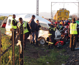 The aftermath of the Blackheath taxi accident in which 10 children lost their lives.