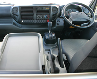 The interior is designed to ease the drivers' duties. Note the fully-automatic transmission.