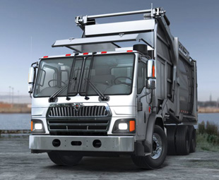 "International's new LoadStar (with a capital ""S"") revives a name from the past. Note the dual steering  on this front-loading  refuse compactor  artist's impression."