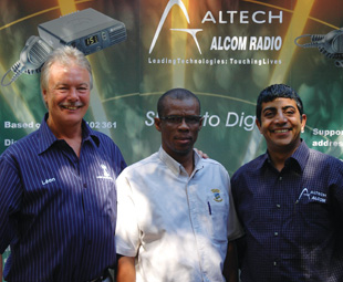 (From right) Zubair Munshi, MD of Altech Alcom Radio Holdings; Johnson Maoka, park manager and Leon Coetzee, MD of Lazer Communications.