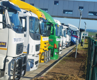 The Ctrack-fitted Truck Test 2012 fleet parked at Dube Trade Port next to King Shaka International Airport, where they took part in a parade – one of the test's highlights for Eugene van Niekerk, senior business consultant at Ctrack.