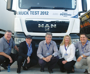 Engen's Ian McToal, John Kennedy, Lindsay Bassett, Karen Smith and Wiaan Burger enjoying Truck Test 2012.