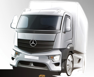 Artist's impression of the Mercedes-Benz Antos, the distribution truck in Daimler's new heavy-duty family.