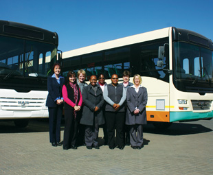 From left: Marietjie Haasbroek, business development coordinator; Ingrid Hutten, creditors Clerk; Carina Kleyn, accounting manager; Tshego Mohajane, cost accountant; Petunia Gwiji, SHEQ officer; Portia Gwiji, receptionist; Corne Venter, projects manager; and Kobbie Scholtz, creditors Clerk.