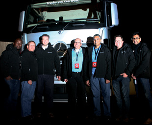 Mercedes-Benz SA was well represented at the Parys extravaganza – from left:  Zamani Mbatha, Commercial Vehicles media specialist; Christo Kleynhans, MBSA Trucks product manager; Pascal Weiss, MBSA Fleetboard manager; Kobus van Zyl, MBSA Commercial Vehicles vice president; Naeem Hassim, MBSA After Sales vice president; Clinton Savage, MBSA Trucks divisional manager; and Mayur Bhana, MBSA Commercial Vehicles marketing manager.