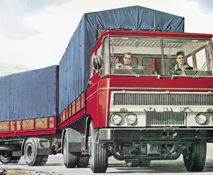 Brand new trucks, like the Volvo FH, are a far cry from their forbears, like this early-1960s DAF.