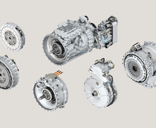 The constituent modules of ZF's new TraXon automatic transmission are seen here grouped around the core component.