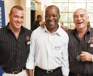 Engen's new fuels have both its workforce and customers smiling. From left: Luke Botha, Force Fuel; Rapula Motlhabane, Engen and Andre Botha, Force Fuel.