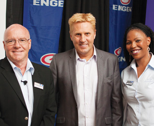 Engen business manager John Kennedy; guest speaker Braam Malherbe and Sandra Edo, commercial fuels strategist at Engen Petroleum. Malherbe wowed the audience with an account of his extreme adventures at the fuels' Johannesburg launch.