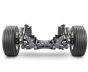 This view shows the layout of Volvo's Individual Front Suspension, claimed to be the first IFS system offered on a series production heavy truck.