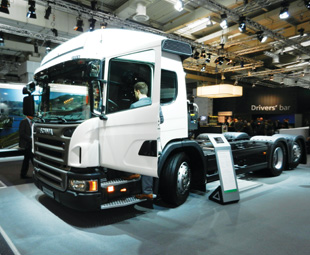 Scania displayed a host of new trucks, including the P 320 6x2 rear-steer low-entry waste collector chassis.