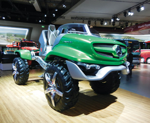 The magnificent Unimog concept vehicle featured headlights akin to stage lights and a frame  finished with high-grade trim cut from aluminium blocks.