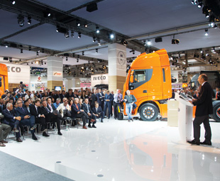 Iveco's packed press conference.