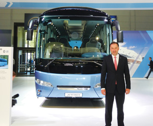 Dr Frank Hiller, in front of the Neoplan Jetliner.