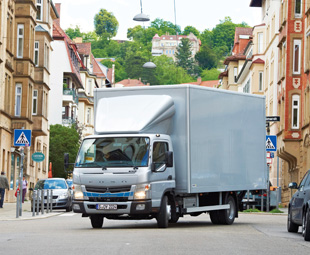 The FUSO Canter Eco Hybrid offers up to 23 percent lower fuel consumption – ideal for urban deliveries that guzzle more fuel.
