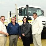Francois Pieterse (right), Rupert Jooné and Analize van Aswegen from Anglo American Exploration Africa take ownership of their Unimog from Ferdi de Beer, technical specialist: Special Vehicles at Mercedes-Benz South Africa.