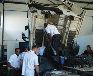 Top Team contestants worked their magic in fixing the trucks mechanical faults.
