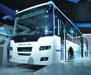 Ashok Leyland's flat-floor Janbus range offers an integral construction, lower entrance solution to operators preferring front-engined buses.
