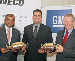 From Left: Johnny Saldanha, vice president of global purchasing and supply chain for GM International Operations; Gary Keen, country and plant manager for Tenneco South Africa, and John Astbury, GMSA vice president of global purchasing and supply chain.