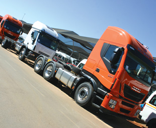 A line of the new Iveco Stralis Hi-Way awaits its delivery.