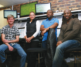 Logistics manager Dani Diedricks and her team of controllers. From left: Mitchell Goosen, Titus Gaothaelwe and Professor Ngwele.