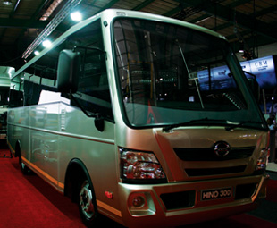 The new Hino 300-series bus has been jointly developed with Busmark 2000.