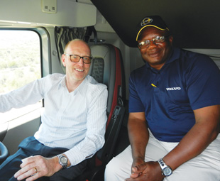Torbjörn Christensson, managing director of Volvo Trucks SA, and Solomon Ncala, driver trainer, are equally enthusiastic about the vehicles.