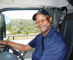 Timothy Sibisi, driver trainer at Volvo Trucks, is impressed at the fuel efficiency of the new vehicles.
