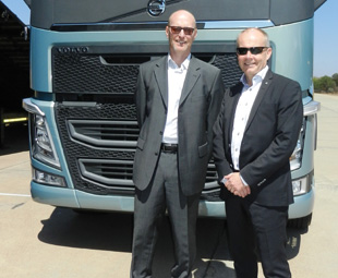 Torbjörn Christensson and Claes Nilsson with the new Volvo FH – one of the vehicles they hope will help drive the company to a 15 percent market share.