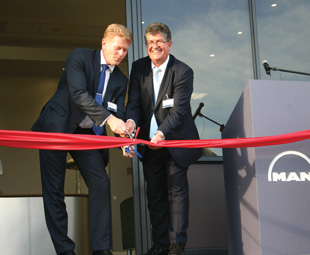 The facility is opened by CEO of MAN Truck & Bus AG, Anders Nielsen (left), and executive chairman of MAN  Truck & Bus South Africa, Geoff du Plessis.