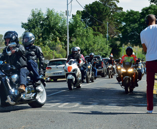 Let the protest begin. The bikers lead the procession onto the highway.