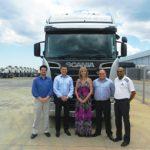 Key players in the FOCUS editor's quest to go trucking! From left: Janke van Jaarsveld (IDes Driving Academy), Alexander Taftman (Scania), Charleen Clarke (FOCUS), John Nelson (Scania) and Shane September (Scania).