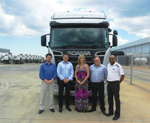 Key players in the FOCUS editor's quest to go trucking! From left: Janke van Jaarsveld (IDes Driving Academy), Alexander Taftman (Scania), Charleen Clarke (FOCUS), John Nelson (Scania) and Shane September (Scania).