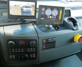 This high-tech MAN features a display for viewing the vehicle and its surrounds from the driver's seat with special instrument readouts and an emergency cut-off switch close at hand.