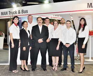 Bruce Dickson, CEO MAN Truck & Bus (middle) flanked by his team, from left: Marietjie Haasbroek, Wanda van Rooyen, Marc Barnett, Gerhard van Wyk, Hester Page, Kyle Meth, Tiago Dias and Naseera Barradeen.