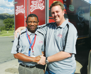 Hino's Sam Senne (left) and Gert Agenbag were full of praise for Truck Test 2014, saying it was one of the best.
