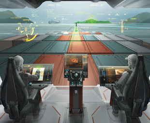 By 2025, a ship's bridge could feature technology such as a heads-up display and customisable controls.