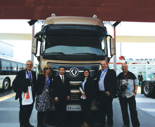 Five members of the International Truck of the Year jury recently met with Huang (Gary) Gang, president of Dongfeng (centre). They were, from left, Gianenrico Griffini (representing Italy), Charleen Clarke (South Africa), Shang Yanzhang (China), Oliver Willms (Germany) and Maximilian Chernyavskiy (Russia).