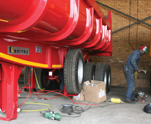 The finishing shop, where trailer brake systems and other ancillary components are fitted and checked for final quality.