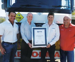 Pictured from left are: Andrew Nicholson (Barloworld Transport), Paul Nordengen (CSIR), Rogan Brent (Manline Mega) and Adrian van Tonder (Barloworld Transport).