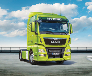 MAN's hybrid truck, aptly painted green, is suited to long-distance haulage.