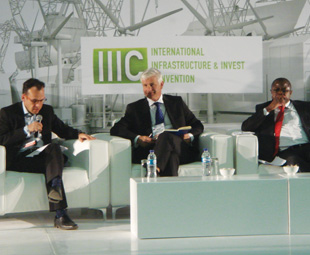 Martyn Davies, CEO of Frontier Advisory, Mike Fanucchi of Barloworld Logistics and Christopher Yaluma, the Minister of Mines, Energy and Water Development in Zambia, on the second day of the IIIC, which kicked off with a focus on overcoming transport and logistics challenges for land-locked projects.