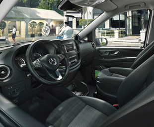 The Vito panel van is the only van to provide airbags and a seat-belt reminder for both the driver and passenger as standard.