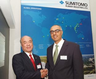 Ikuji Ikeda, CEO of Sumitomo Rubber Industries (left), and Riaz Haffejee, CEO of Sumitomo Rubber South Africa, look forward to growing Dunlop's African footprint.