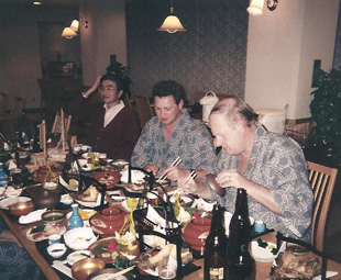 Business trips to Japan always involved lots of social eating! Here, Makoto Hisano, Mike Whitfield and Frank Beeton carry on the tradition.