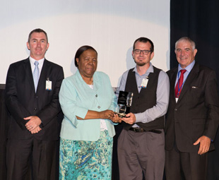 Left to right: Barry MacColl (General Manager – Research, Testing and Development, Eskom) Honourable Naledi Pandor (Minister of the Department of Science and Technology) Dirk de Beer (Futurist and Strategic Projects Manager at Ctrack / DigiCore) Prof. Roy Marcus (Chairperson of the Da Vinci Institute for Technology Management).